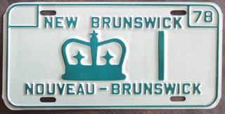 NEW BRUNSWICK 1978 LT. GOVERNOR'S PLATE