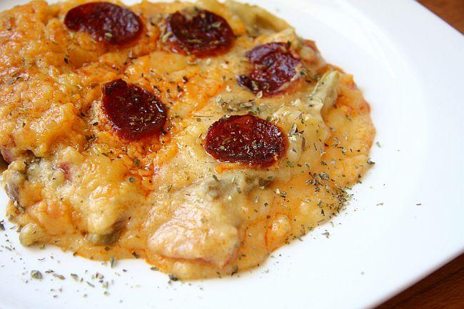 Judias gratinadas con pure de patatas y chorizo mercado calabaj o - Judias con chorizo y patatas ...