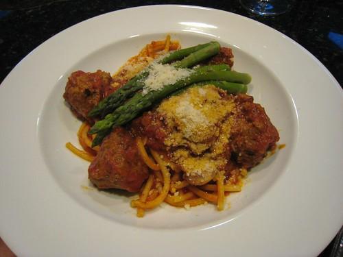 pasta, meatballs, asparagras IMG_0109