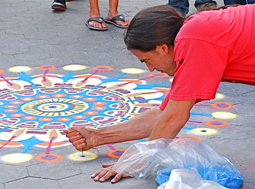 Joe Mangrum's sand painting, Union Square, New York City