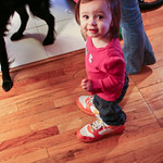 Dani walking in mommy's shoes
