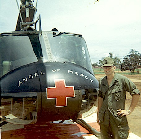 7th Surgical Hospital Blackhorse Capt Max Burdick, ANC standing in front of a Dust-Off helicopter 1967 by Max Burdick by 7th Surgical Hospital (MA)  Vietnam