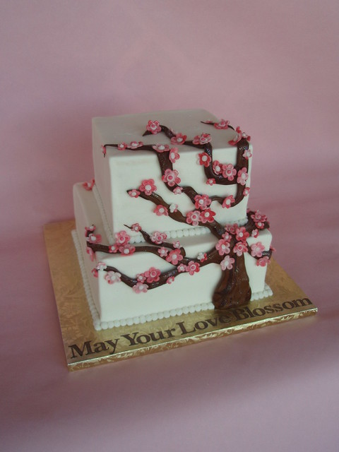 Cherry Blossom Bridal Shower Cake A traditional cherry blossom tree made of