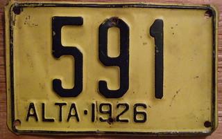 ALBERTA 1926 STEAM TRACTOR plate