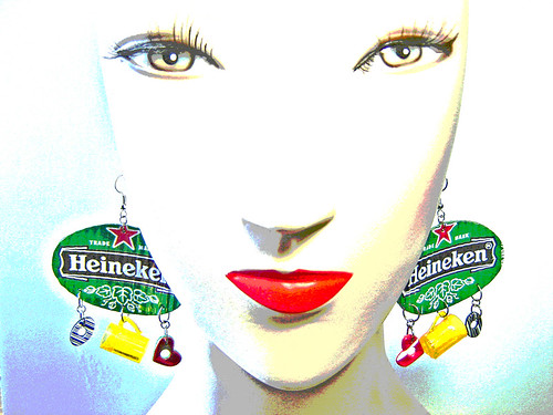 Heineken Earrings recycled from aluminum cans ~ 1 of 5 photos