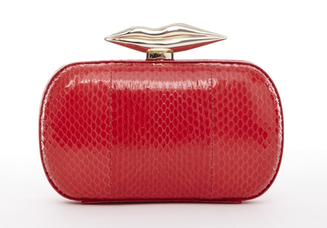 3  DVF Flirty Clutch in hiny red leather snake