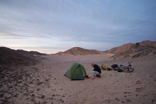 Tom Allen camping in the Sinai Desert