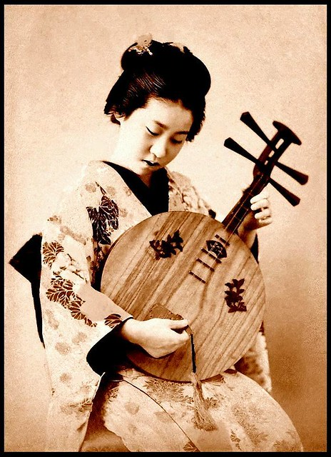 """A MAIDEN AND HER """"MOON LUTE"""" in OLD JAPAN 
