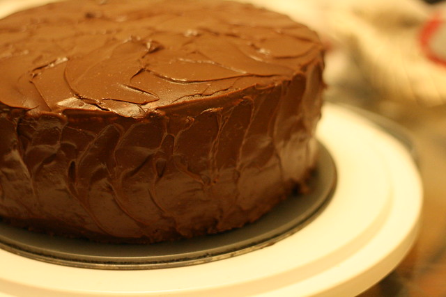 Homemade yellow cake with chocolate sour cream frosting | Flickr ...