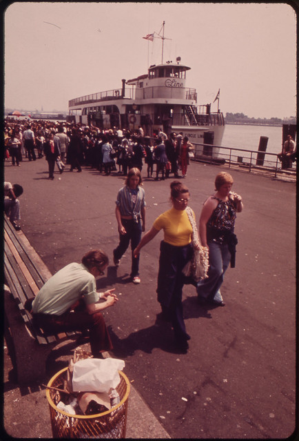 DOCUMERICA: Battery Park Waterfront, Lower Manhattan. Staten Island Ferry in Background 05/1973 by Wil Blanche.