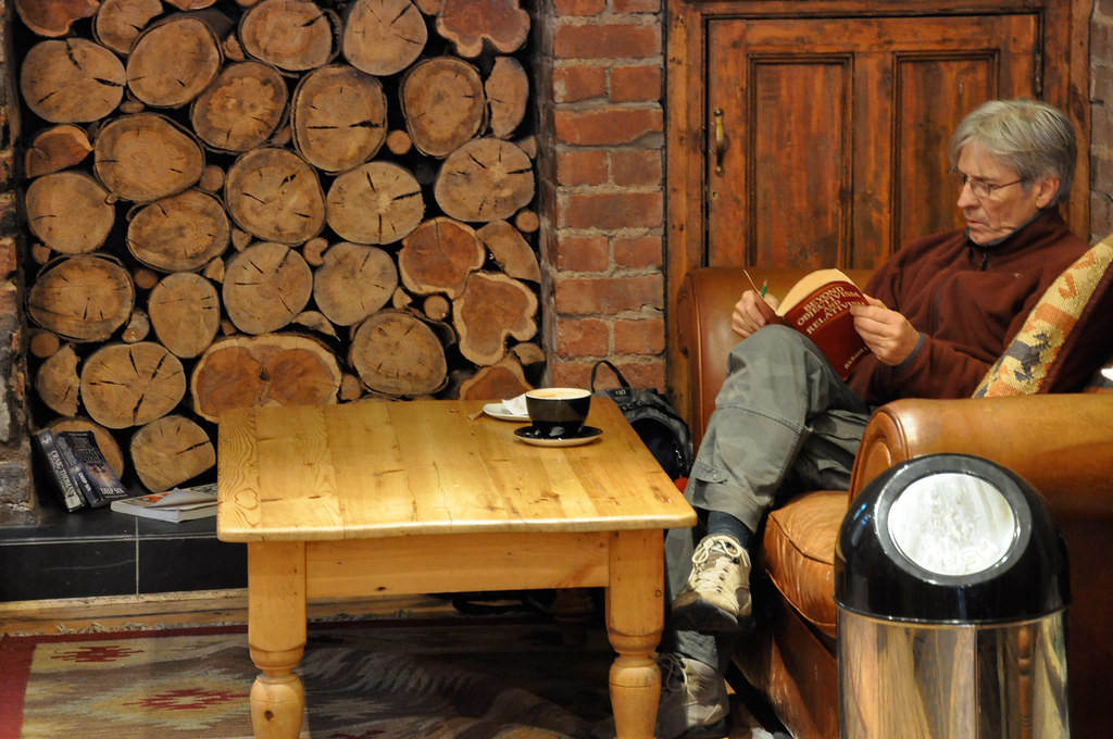 Man reading at Coffee shop, Cardiff