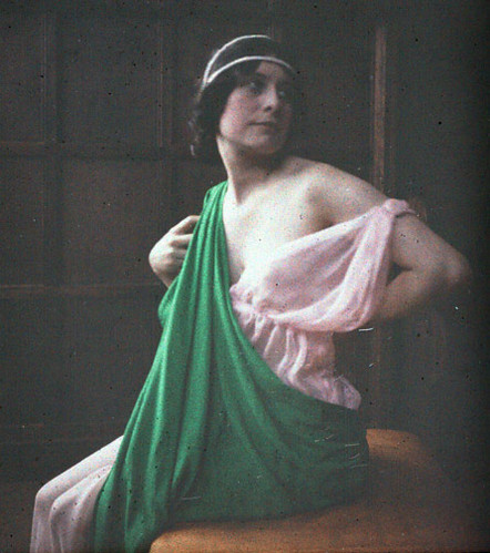 Woman with Pink and Green Drapes - Half of a Stereo Autochrome Slide