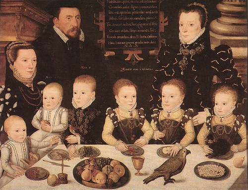 William Brooke, Lord Cobham, with his wife, Frances Newton, her sister, and the couple's children
