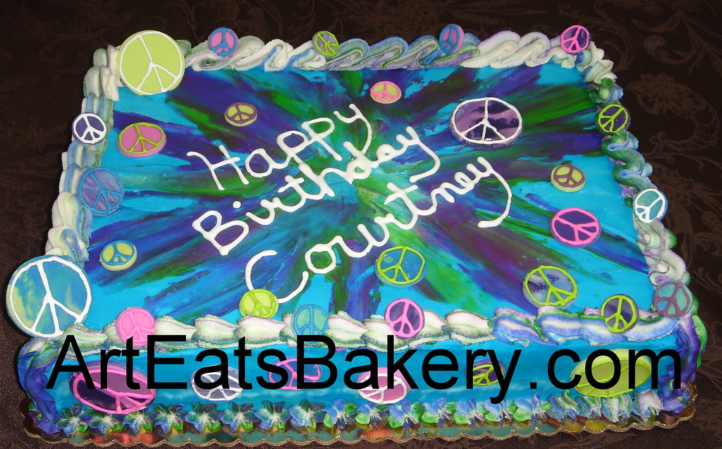 Outstanding Tie Dye And Peace Signs Butter Cream Birthday Cake Flickr Personalised Birthday Cards Paralily Jamesorg