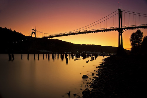 park bridge sunset silhouette st architecture oregon river portland long exposure arch cathedral gothic filter nd pilings johns willamette 일몰 미국 공원 강 다리 포틀랜드 오레곤