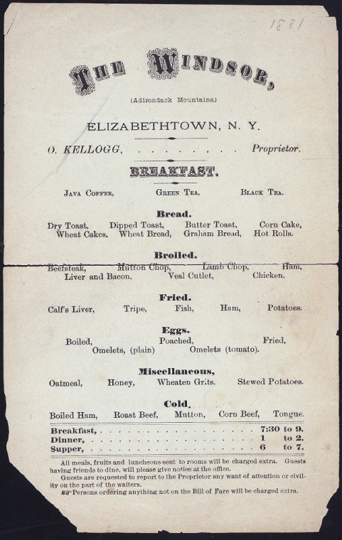BREAKFAST [held by] THE WINDSOR [at] 'ELIZABETHTOWN, NY' (CO...