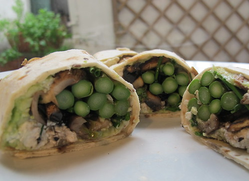 Asparagus, Feta cheese, grilled mushroom, avocado & herb wrap