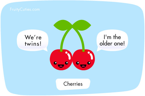 Cherry Twins - Kawaii Fruit Joke - Fruity Cuties
