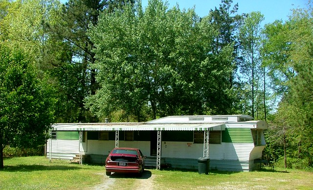 Tidy Olive Green & White Mobile Home With Awning & Raised Roof, Saline County AR