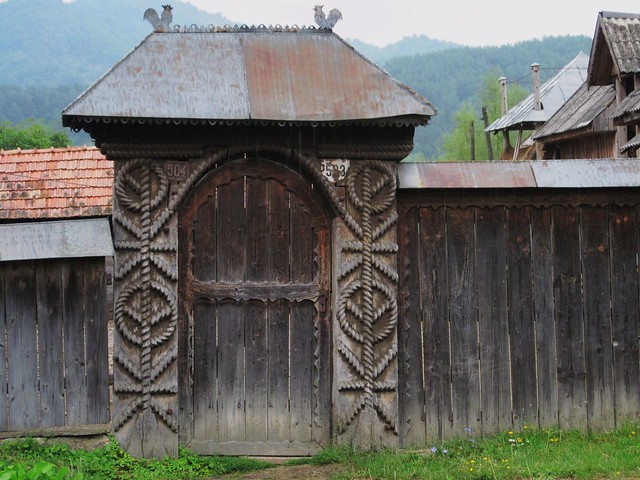 Maramures, an old traditional wooden carved gate