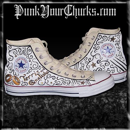 e5cd94f1daafd7 Hand Painted Custom Wedding Converse Chuck Taylors