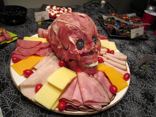 the neighbor's meat head at their Halloween party