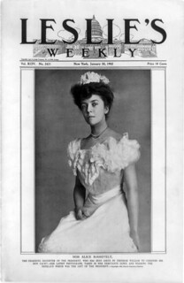 Miss Alice Hathaway Lee Roosevelt on the cover of Leslie's Weekly, by Frances Benjamin Johnston, 1902