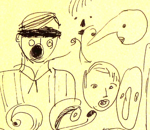 Drawing of heads and faces - detail