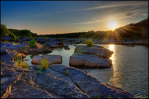 statepark light sunset sun reflection water rock texas dusk hiking tx country hill boulder rays 20 sunrays hdr pedernales pedernalesriver texasstatepark pedernalesfallsstatepark photomatix 3exp top20texas bestoftexas oxherder