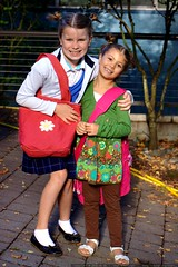 shea & rebecca enroute to their first day of school …