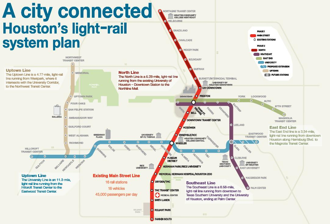 Houston Metro Light Rail Expansion Map Indiana Map - Metro rail houston map