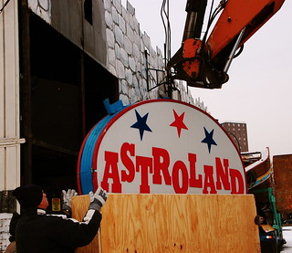 Astroland Sign being Crated