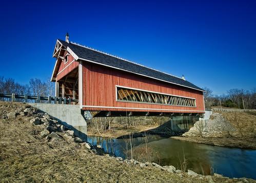 longexposure bridge blue sky creek stream bright country coveredbridge sigma1020mm ndfilter d90 ashtabulacounty anawesomeshot nikond90 netcherrdbridge