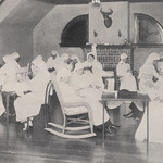 On August 19, 1918, the first meeting of the Upper Arlington Red Cross Unit was held in the ballroom of the home of Ben Thompson. Katherine Thompson (Mrs. Ben Thompson) was the chairman of the unit. The group met each week on Tuesday afternoons. With an average attendance of thirteen, the unit produced hospital shirts, comfort bags, pillowcases, and towels for the war relief effort.At the end of World War I, the women of the Upper Arlington Red Cross Unit decided to continue meeting to discuss the needs and general welfare of the community. The group continued to meet under their new name, the Norwester Women's Club. The first meeting of the Norwester Women's Club was held on March 28, 1919, at which time Mrs. Frank Rogers was elected their president.Appearing in the picture are: Mrs. Hayes, Helen Miller (Mrs. Harvey Miller), Mrs. Hoffman, Eliza Howard, Mrs. Nance, Mrs. Kern, Marion Roberta O'Brien, Mrs. Rogers, Mrs. Henry Miller, Nellie Dunlap, Carey Rolf, Mrs. Williams, Ethel Thompson (Mrs. King Thompson), Katherine Thompson (Mrs. Ben Thompson), Katherine Carmack, Jessie Miller, Nancy Miller, Grace Miller, Allie Miller, and Lollie Miller.This image available online at the UA Archives:ua-archives.cdmhost.com/u?/p4036coll10,66Read the related 'Norwester' magazine article at the UA Archives:ua-archives.cdmhost.com/u?/p4036coll9,247----------------------------------------Identifier: hinw03p012i01Date (yyyy-mm-dd): c. 1918-01Original Dimensions: 17.9 cm x 10.2 cmFormat: Black and White Halftone PhotographSource: Norwester, January 1918, page 12Original Publisher: Upper Arlington Community (Ohio)Location/s: Upper Arlington (USA, Ohio, Franklin County)Repository: Upper Arlington Historical SocietyDigital Publisher: UA Archives - Upper Arlington Public LibraryCredit: UA Archives - Upper Arlington Public Library (Repository: UA Historical Society)