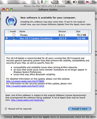 Apple Software Update 10.5.8