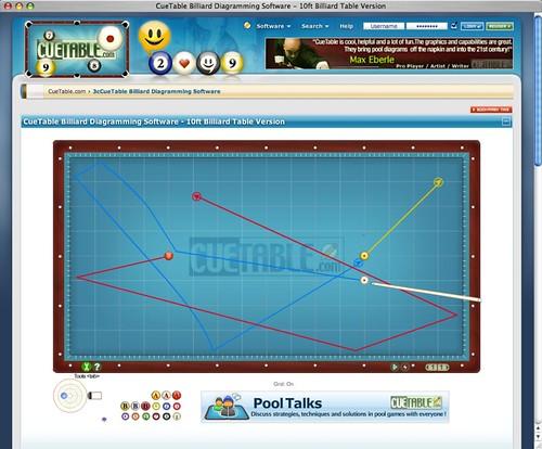 pool table diagramming software cuetable billiard diagram software - 3 cushion billiard ...