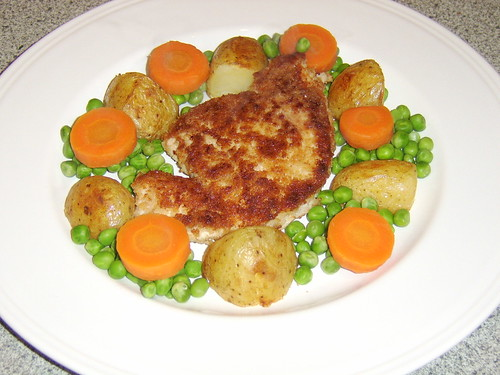 Turkey Breast Fillet Fried in Breadcrumbs with Oven Roasted Potatoes