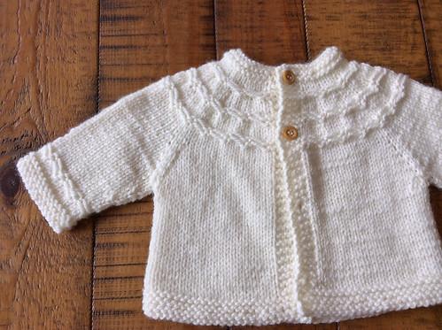 Tiny yoked baby cardigan