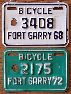 MANITOBA, FT. GARRY 1968 and 1972 BICYCLE LICENSE plates