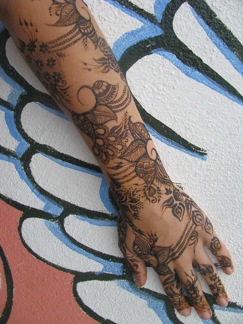Traditional Henna Tattoo: Traditional Flower Henna On Arm & Hand