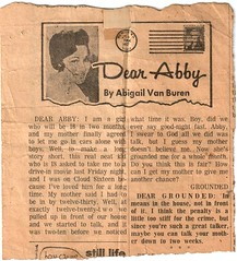 Newspaper clipping of 'Dear Abby' column
