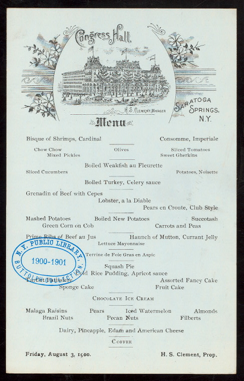 DINNER [held by] CONGRESS HALL [at] 'SARATOGA SPRINGS, NY' (...