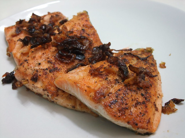 Pan seared arctic char with carmelized shallots they had for Whole foods fish on sale this week