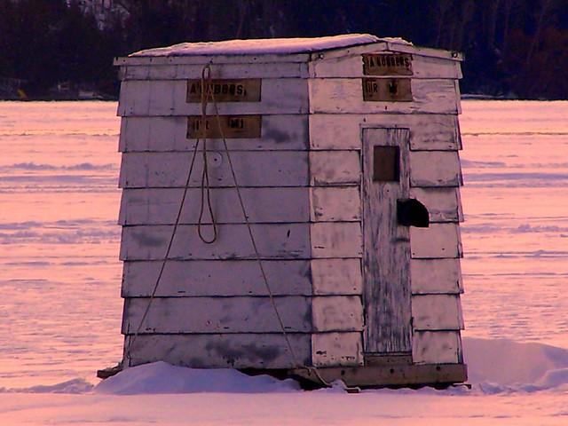 Ice fishing shanty on burt lake in indian river michigan for Ice fishing michigan