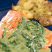 Salmon with spinach poblano sauce