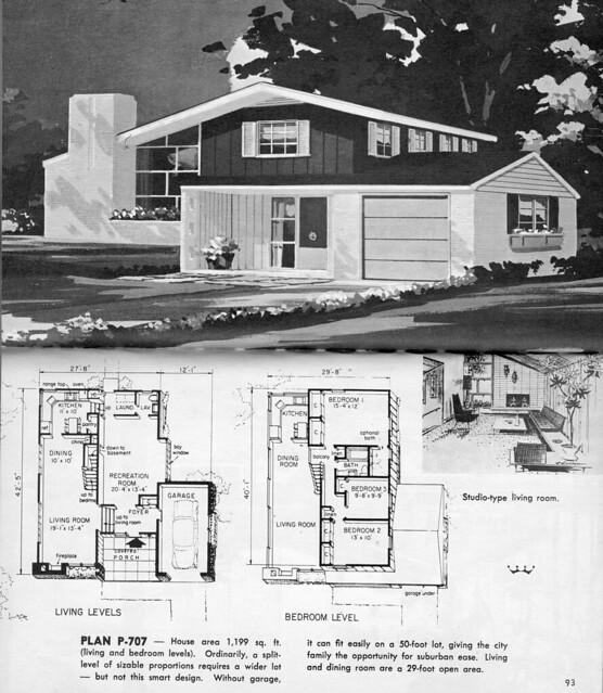 Split level plan p 707 flickr photo sharing for Split level house plans 1960s