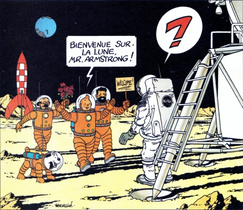Tintin and friends greet Armstrong