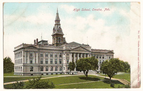 Vintage Postcard of the High School, Omaha, Nebraska 1906