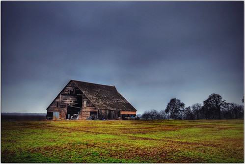 california trees abandoned grass clouds barn countryside farm explore hdr ruraldecay