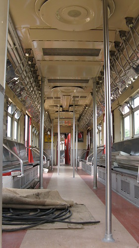eddie 39 s rail fan page the interior of a new york city redbird subway car under restoration. Black Bedroom Furniture Sets. Home Design Ideas